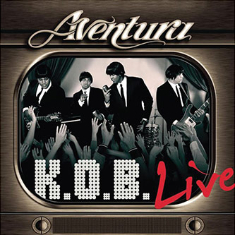 Figure 3: CD cover for Aventura's <em>K.O.B Live</em> (2006). Note the R&B and Beatles influence in Aventura's members' fashion style.