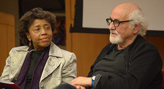 <p>Tania Le&oacute;n and Morton Subotnick during a panel discussion at the Brooklyn College Symposium</p>