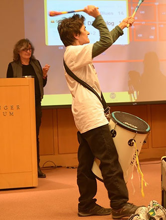 <p>Sherrie Tucker and Leaf Miller lead a workshop on AUMI (Adaptive Use Musical Instruments) at Brooklyn College</p>