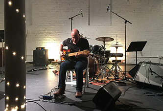 <p>David Grubbs performs at ShapeShifter Lab during the September BroCo MaSS opening concert</p>