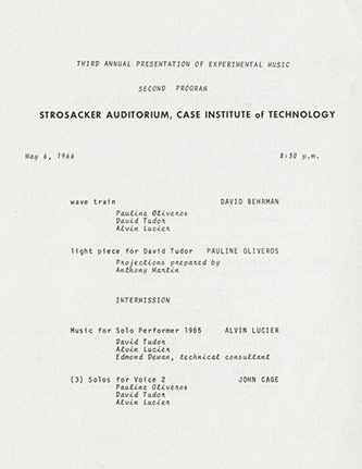 <p>Program from May 1966 concert at the Case Institute of Technology</p>