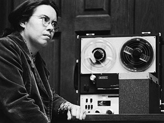 <p>Pauline Oliveros at the San Francisco Tape Music Center, c. 1964</p>
