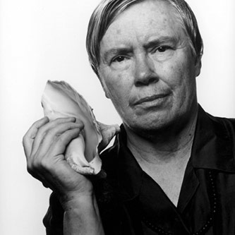 <p>Pauline Oliveros with conch shell, 1995</p>