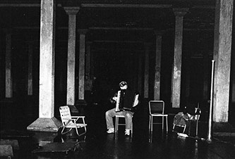 <p>Oliveros in the Fort Worden Cistern, 1988</p>