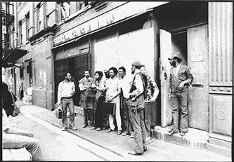 <p>Musicians outside Studio We in New York, c.1973</p>