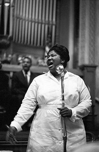 Mahalia Jackson at the South Side Church in Chicago, 1958. photograph by Ted Williams