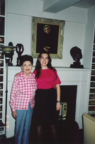 Clara Rockmore and Dalit Warshaw, August 1991, in Clara's apartment on West 57th Street in New York City