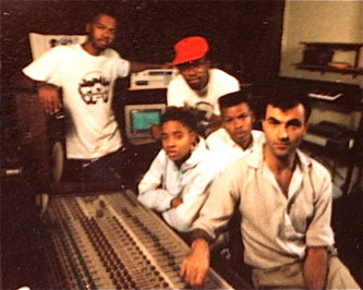L-R: Milk Dee, Gizmo (in red hat), MC Lyte, King of Chill, and engineer Yoram Yazzul at Firehouse Studios, 1988