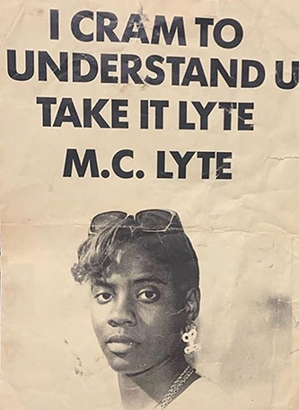 1987 promotional flyer for MC Lyte's first single, distributed from the First Priority office, courtesy of Milk Dee [Kirk Robinson]