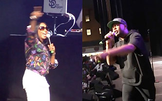 (L-R): MC Lyte and Milk Dee of Audio Two performing at Coney Island Ampitheater, June 20, 2018, screen captures from Big Daddy Kane: Long Live the Kane 30th Anniversary