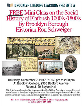 Free Mini-Class on the Social History of Flatbush 1600's - 1800's