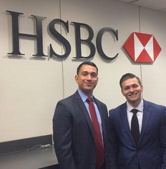<p>Daniel Menendez '08, vice president and senior branch manager at HSBC, with his mentee, Sebastian Komuda</p>