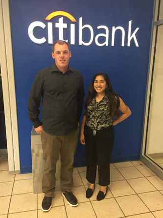 <p>Farjana Rohman '09, a vice president at Citigroup, with her mentee, John Morrison '17</p>