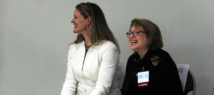 President Michelle Anderson and Marge Magner at the 15th Anniversary of the Magner Career Center