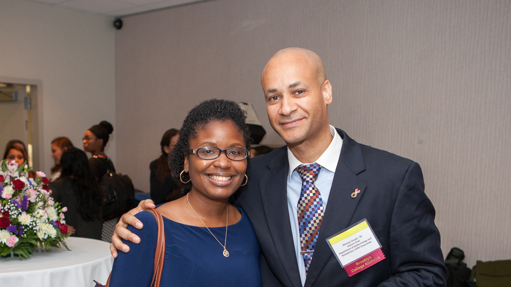 <p>Alumni Mentor Dr. Joseph Michael (right) with his mentee, Nadine Alexander '11 </p>