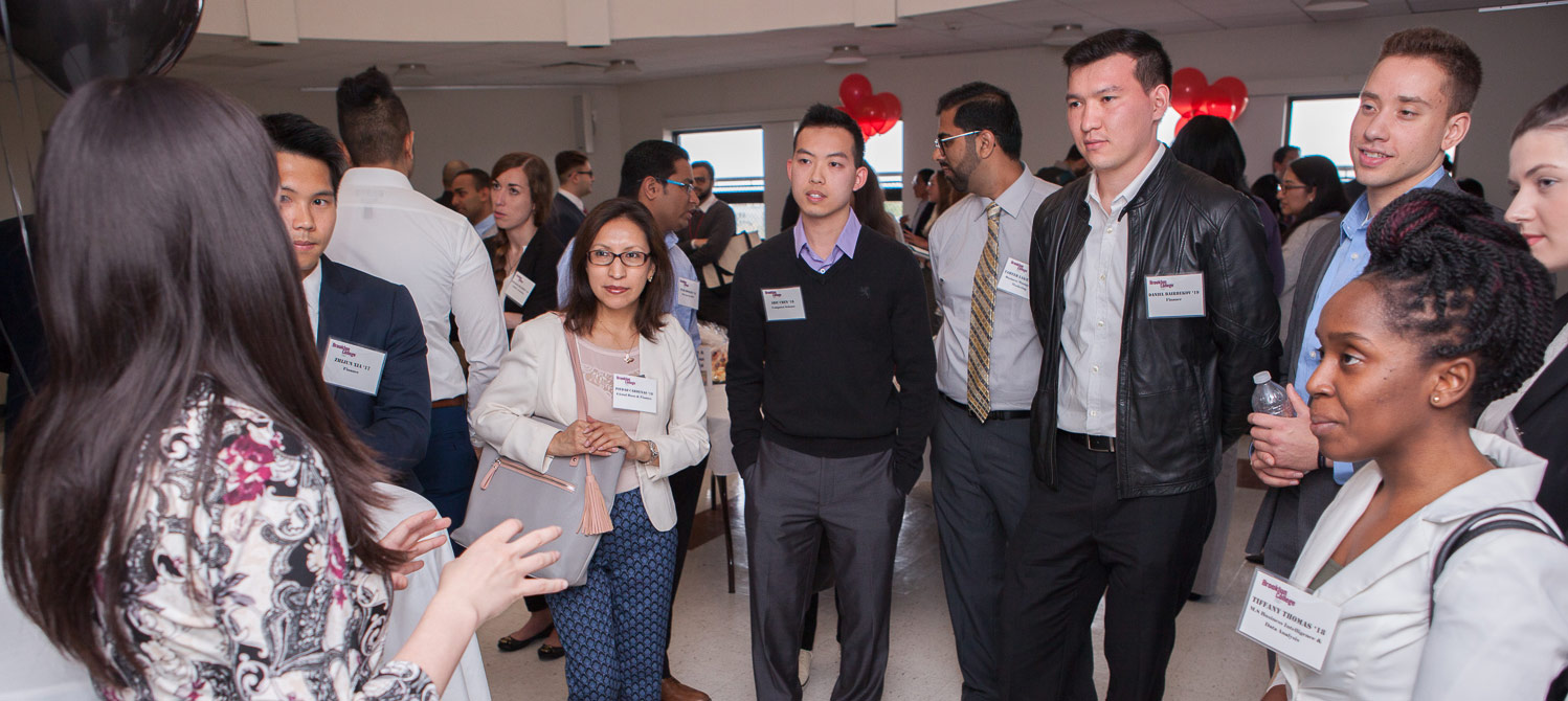 Networking events let students talk to professionals and alumni and build professional relationships.