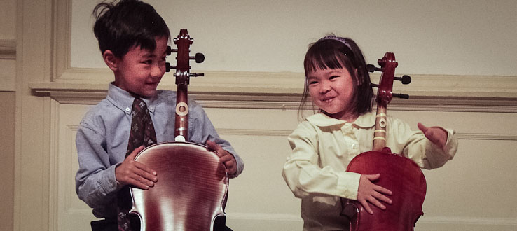 Two blossoming cellists perform in the Brooklyn Botanic Garden's Cherry Blossom Festival.