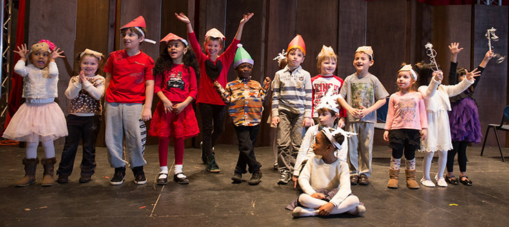 Theater classes perform their original plays.