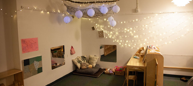 The classroom environments at the Early Childhood Center are created to encourage the celebration of relationships and the environment.
