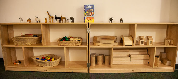 The Twos Room has an inviting block area for creative explorations.