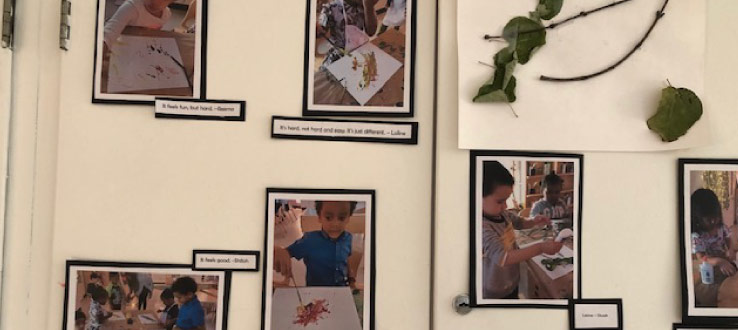The children explore the natural materials that they found in the yard - sticks, dried leaves and flower petals - as they also create minimalist inspired artwork.