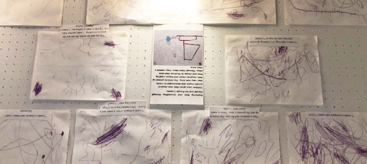 The children create their own interpretive artwork based on the children's book, Harold and The Purple Crayon.