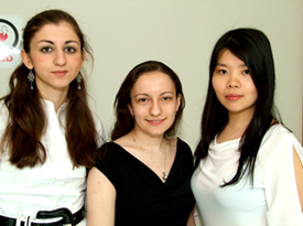 Brooklyn College students Becky Naoulou, Liliya Gershengoren, and Jewel Liao