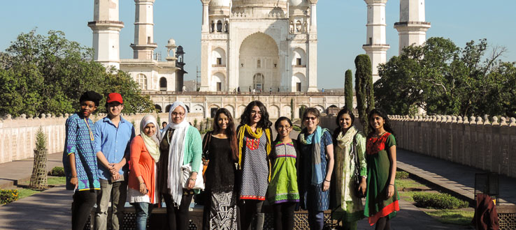 1<p>Associate Professor Patricia Antoniello with students enrolled in her Global Health study abroad program in India.</p>