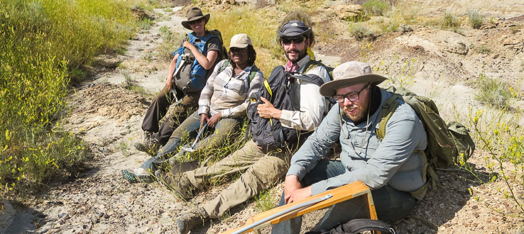 1<p>Assistant Professor Stephen Chester with students enrolled in his paleontological field school in Montana.</p>