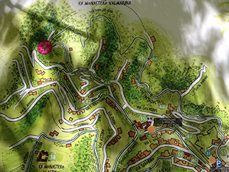 <p>Illustrated map of the region west of Bergamo, Italy, overlooking the Ex Monastero di Santa Maria in Valmarina.</p>