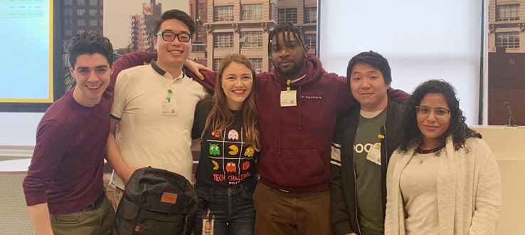 2019 Google Tech Challenge winners. From left to right: Calvin Kipperman, Zhi De Huang, Brittney Hedenberg (from Google), Kristian Mentor, Kai Lin, Johanny Mateo.