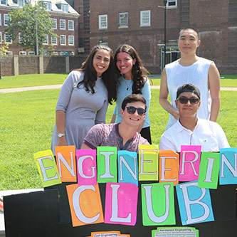 <p>The Engineering Club.  Clockwise from left: Yocheved Kopel (Treasurer); Sarah Segal (President and Founder); Alvin Huang (Club Connector); Alejandro Gonzalez (Secretary); Benjamin Terebelo (Vice President).</p>