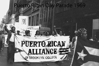 The Puerto Rican Alliance of Brooklyn College marching in the annual Puerto Rican Day Parade, 1969. (Photo credit. Antonio Nieves '72)