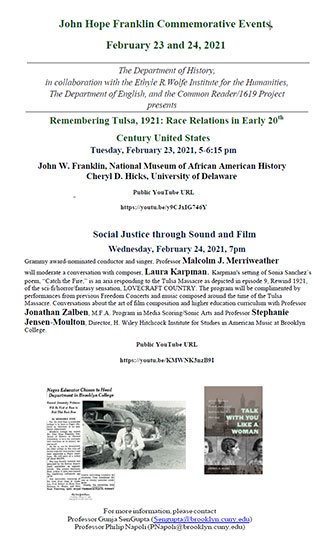 Poster for the John Hope Franklin Commemorative Events, February 23 and 24, 2021