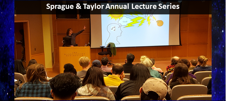 "Sprague and Taylor Lecture 2019 - Dean Zimmerman lecturing in Woody Tanger Auditorium on the topic of ""Perceiving God""."