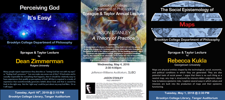 Sprague and Taylor Annual Lecture Event Fliers