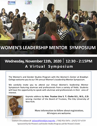 Poster for the 2020 Women's Leadership Mentor Symposium