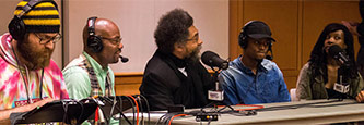 <p>Dr. Cornel West recording the podcast.</p>