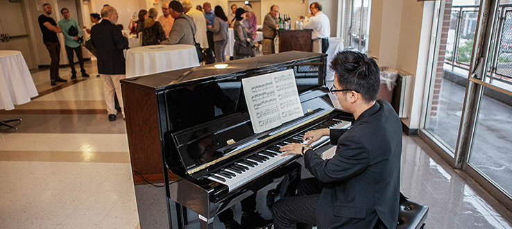 Student musicians have the opportunity to perform at on-campus events.