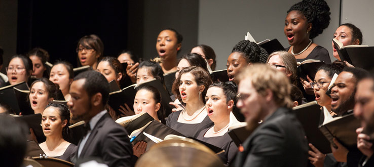 1<p>The Symphonic Choir and Conservatory Singers performing Carl Orff's <em>Carmina Burana</em> in an arrangement with two pianos and percussion</p>