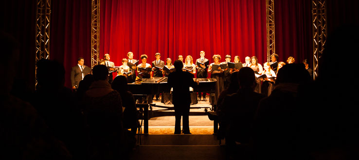The Conservatory Chamber Choir lights up the stage with a repertoire of sacred and secular works.