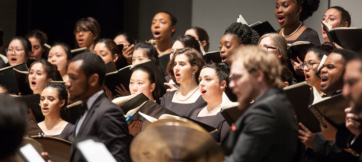 1<p>The Symphonic Choir, Conservatory Singers, and Glee Club, along with the Brooklyn College Wind Quintet and the Grace Chorale of Brooklyn, presented their annual John Hope Franklin Freedom Concert on Wednesday, February 27.</p>