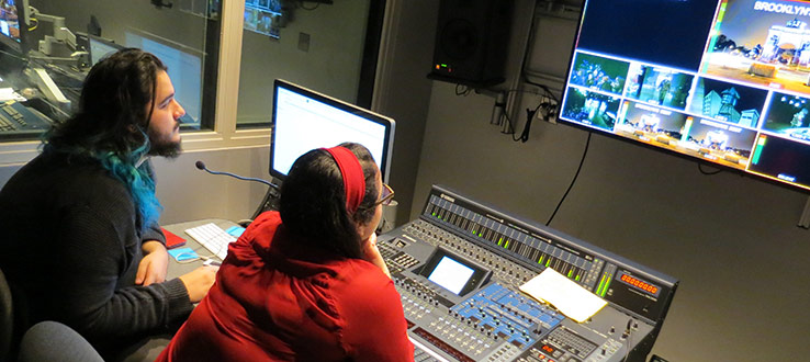 1<p>Students learn live audio production for television in an updated room in Master Control featuring integrated Pro-Tools and a Yamaha DM 2000 mixing board.</p>