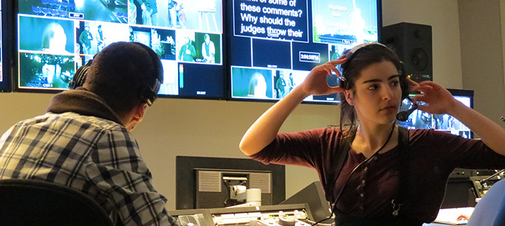 1<p>M.F.A.s associate director Michael Zhonga and director Sally Lomidze working in the newly renovated Master Control.</p>