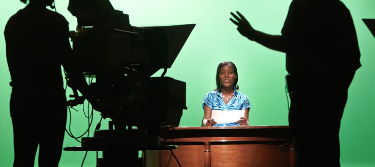 Broadcast journalism majors hone their on-air skills in real-world settings.