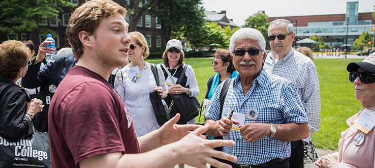 Student guides lead alumni on tours of the campus to show them what has changed and what has remained the same.