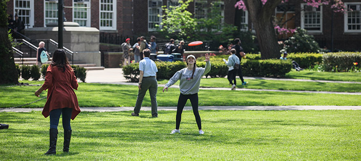 Frisbee tosses, Hacky Sack games, and impromptu badminton practice are a few ways to relax and have some fun on the Quad.