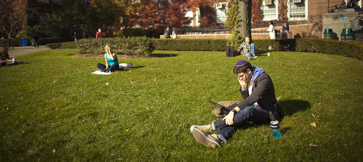 Fall is the perfect time to relax and study outside.