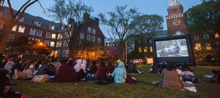 Campus events include an outdoor Movie Night.