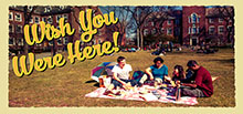 Students studying on a blanket outside with the stylized text 'Wish You Were Here!'.